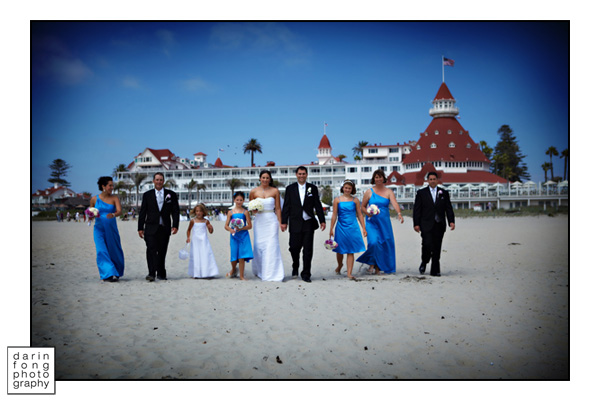 The Wedding Party on the Beach at the Hotel Del Coronado